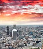 Aerial view of City of London skyline.  Stock Photos