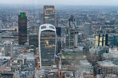 Aerial view of City of London skyline.  Royalty Free Stock Photos