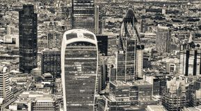 Aerial view of City of London skyline.  Stock Photo