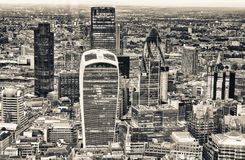Aerial view of City of London skyline.  Royalty Free Stock Photo
