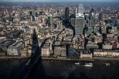 Aerial view of The City of London. With Tower 42, 20 Fenchurch Street (aka The Pint), 122 Leadenhall Street (aka The Cheesegrater),30 St Mary Axe (aka The Stock Image