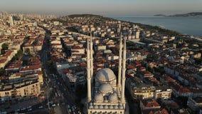 Aerial view city mosque muslim