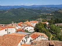 Aerial view of the city Motovun in Istria, Croatia, and the surrounding landscape.  royalty free stock photo