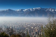 Aerial view of a city with mountain in the background, Andes, Sa Stock Image