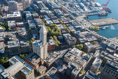 Aerial View of City Near Body of Water Royalty Free Stock Image