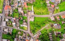 Aerial View Of City Neighborhood, Banos, Ecuador. Aerial View Of City Neighborhood, Banos De Agua Santa, Tungurahua Province, South America Royalty Free Stock Photos