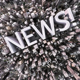 News. Aerial view of a city with News text Stock Photography
