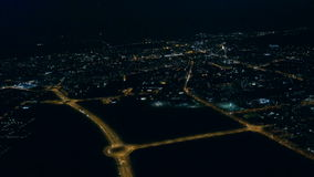 Aerial view - City at night stock video footage