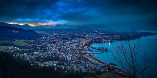 Aerial View of City at Night Royalty Free Stock Photo