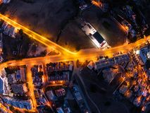 Aerial view on City at night, Albufeira, Portugal. Illuminated streets at sunset royalty free stock image