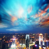 Aerial view of city night in China Royalty Free Stock Image