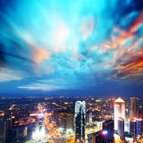 Aerial view of city night Royalty Free Stock Images