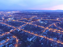 Aerial view of a city in night Royalty Free Stock Photography