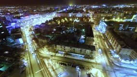 Aerial View Of City  At Night stock footage