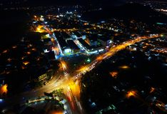 Aerial View of City during Nighttime Royalty Free Stock Photography