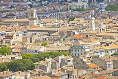 Aerial view of the city Nimes Stock Photo