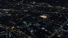 Aerial View of Oakland, California at Night. An aerial view of the city of Oakland, CA. The city is known for its sustainability practices and usage of stock footage