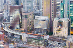 Aerial view City office building and highway. Osaka Japan night view Stock Photos