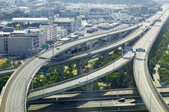 Aerial view of the city overpass in early morning Stock Photos