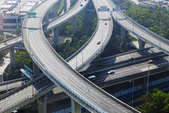 Aerial view of the city overpass in early morning Royalty Free Stock Photo