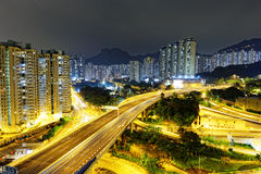 Aerial view of the city overpass at night, HongKong Stock Image