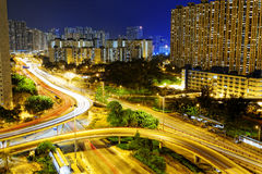 Aerial view of the city overpass at night, HongKong, Asia Royalty Free Stock Photography