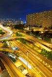 Aerial view of the city overpass at night, HongKong, Asia Stock Photos