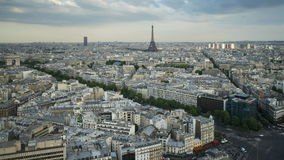 Aerial view of the city of paris with the eiffel tower in the distance stock video footage