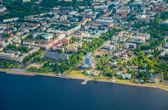 Aerial view of city Petrozavodsk, Karelia, Russia. royalty free stock images