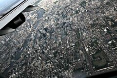 Aerial View of City from Plane Stock Photography