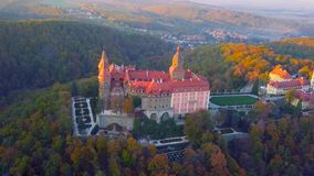 Aerial view of a city in Poland - north of the country - a castle in the middle of the forest - overlooking the trees and beautifu royalty free stock image