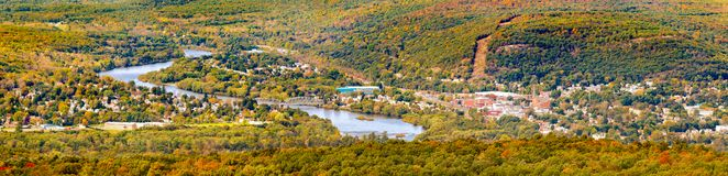 Aerial view of the City of Port Jervis, NY stock images