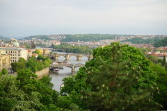 Aerial view of the city of Prague (Europe) from the Letna district, facing the UNESCO city Royalty Free Stock Photography