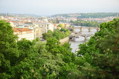 Aerial view of the city of Prague (Europe) from the Letna district, facing the UNESCO city Royalty Free Stock Photo