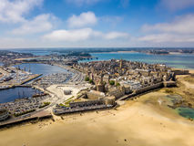 Aerial view of the city of Privateers - Saint Malo in Brittany, France Royalty Free Stock Photo