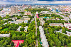 Aerial view on city quarters. Tyumen. Russia Royalty Free Stock Photos