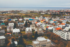 Aerial view of city Reykjavik. Iceland with tilt shift effect. Toy Town royalty free stock images