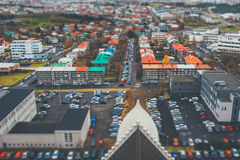 Aerial view of city Reykjavik. Iceland with tilt shift effect. Toy Town stock photos