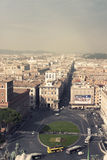 Aerial view of the city of Rome. Piazza Venezia and Via del Corso. stock photography