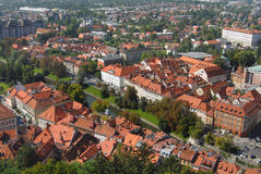 Aerial view on a city roofs Stock Images