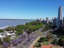 Aerial view of the city of Rosario, Argentina. You can see the Parana river on the left stock photos