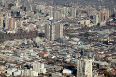 Aerial view of a city, Santiago, Chile Stock Images
