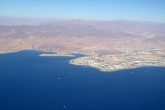Aerial view city and sea Stock Image