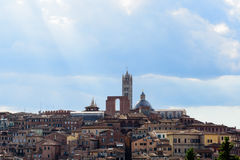 Aerial view of the city of Siena. With the Duomo during a cloudy day royalty free stock photo