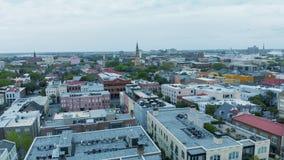 Aerial view of city skyline, Charleston, SC.  royalty free stock image