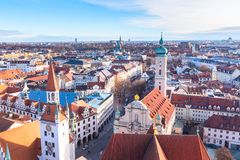 Aerial view and city skyline in Munich, Germany Royalty Free Stock Image