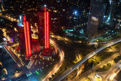 Aerial view of the city and skyscrapers from Istan. Istanbul, Turkey - July 28, 2012: Aerial view of the city downtown and skyscrapers from Istanbul Sapphire Royalty Free Stock Images