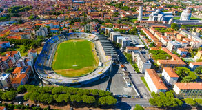 Aerial view of city stadium in Pisa with Square of Miracles Stock Images