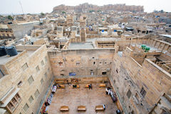 Aerial view on city streets and stone house courtyard Stock Photos