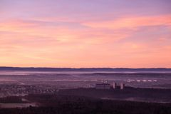 Aerial view of the city of Stuttgart and the swabian alb at sunrise royalty free stock photography